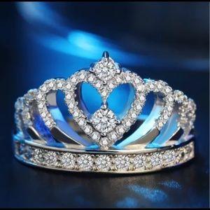 Romantic Princess Crown Heart 925 Silver Ring